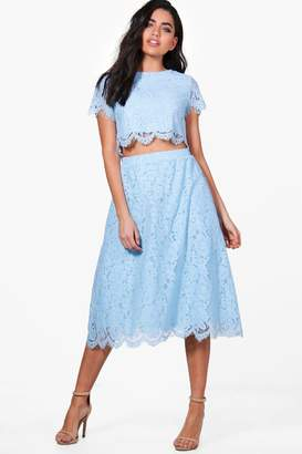 boohoo Boutique Aria Lace Midi Skirt Co-Ord Set