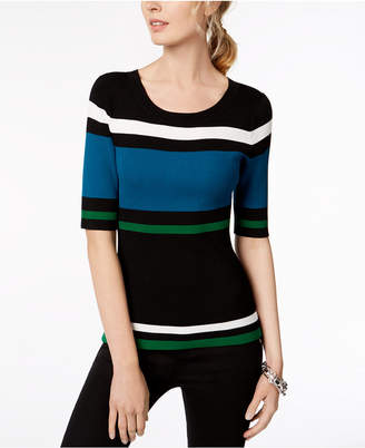 INC International Concepts I.n.c. Petite Striped Elbow-Sleeve Sweater, Created for Macy's