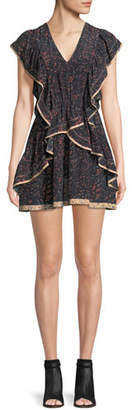 IRO Jicka V-Neck Printed Silk Dress with Ruffled Frills