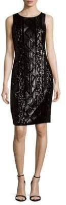 Adrianna Papell Cable-Sequin Sheath Dress