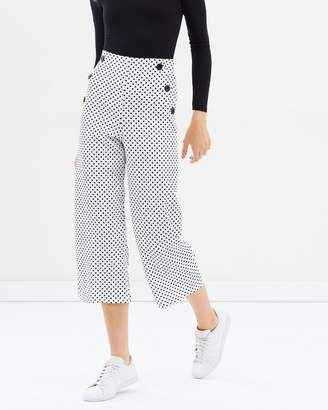 Miss Selfridge Spot Wide Cropped Trousers