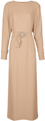 Alessandra Rich Nude Belted Long Sleeve Midi Dress