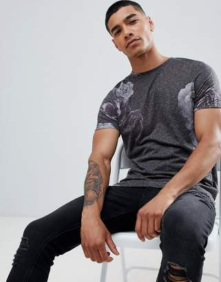 Asos DESIGN t-shirt with all over floral print on linen mix jersey