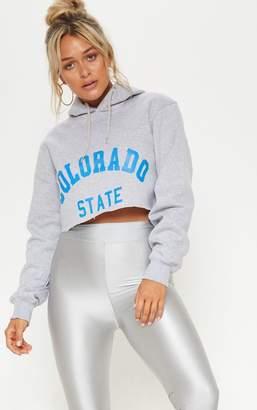 PrettyLittleThing Grey Slogan Colorado Crop Hoodie