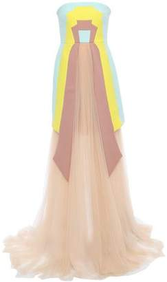 DELPOZO Layered Color-block Wool-crepe And Tulle Gown