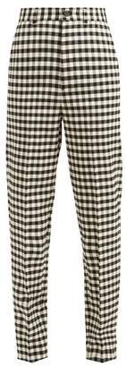 Balenciaga Vichy Gingham Trousers - Womens - Black White