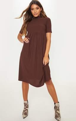 PrettyLittleThing Chocolate Jersey Short Sleeve Midi Smock Dress