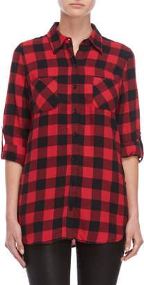 Derek Heart Flannel Plaid Shirt Tunic