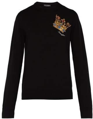 Crown Embroidered Virgin Wool Sweater - Mens - Black