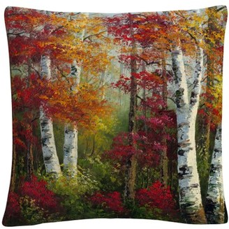 Trademark Art Indian Summer' Autumn Birch Trees By Masters Fine Art 16 X 16 Decorative Throw Pillow
