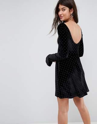 Asos DESIGN Studded Velvet Scoop Back Skater Dress with Frill Cuffs
