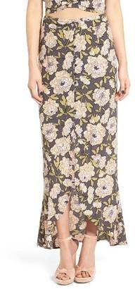Women's Leith Flounce Floral Print Maxi Skirt $69 thestylecure.com