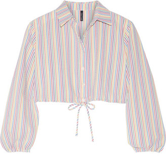 Lisa Marie Fernandez - Cropped Stripped Seersucker Shirt - White $365 thestylecure.com