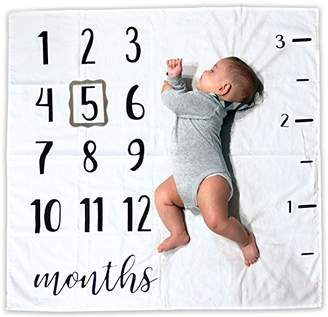 Baby Monthly Milestone Blanket | Includes Picture Frame and Ruler | 100% Organic Cotton | 1 to 12 Months | Best Photography Backdrop Photo Prop for Newborn Boy & Girl