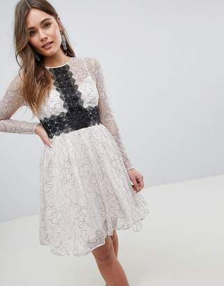 Asos DESIGN Contrast Lace Skater Mini Dress with Long Sleeves