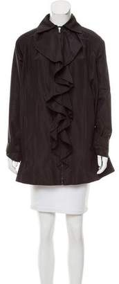 Ralph Lauren Black Label Ruffle-Trimmed Silk Jacket