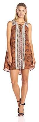 Blu Pepper Women's Border Printed Sleeveless Lace Up Dress