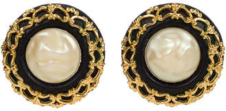 One Kings Lane Vintage Chanel Oversize Leather & Pearl Earrings - Vintage Lux