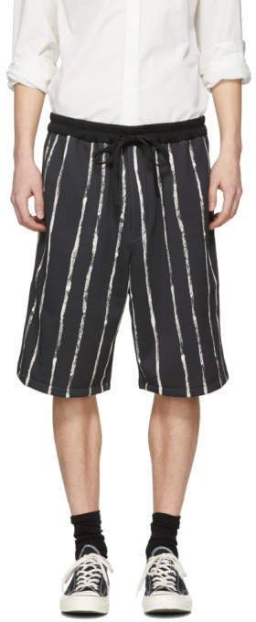 Black Painted Stripe Shorts