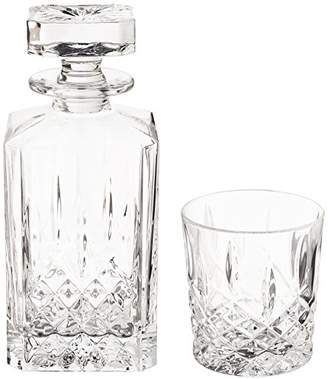 Marquis by Waterford Markham 11 Ounce Double Old Fashioned Glasses Pair and Square Decanter Set