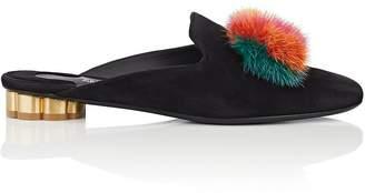 Salvatore Ferragamo Women's Fur-Bow Suede Mules