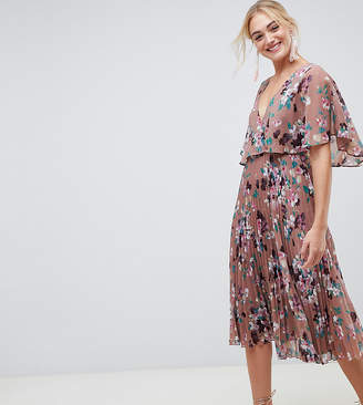 Asos Tall DESIGN Tall flutter sleeve midi dress with pleat skirt in floral print