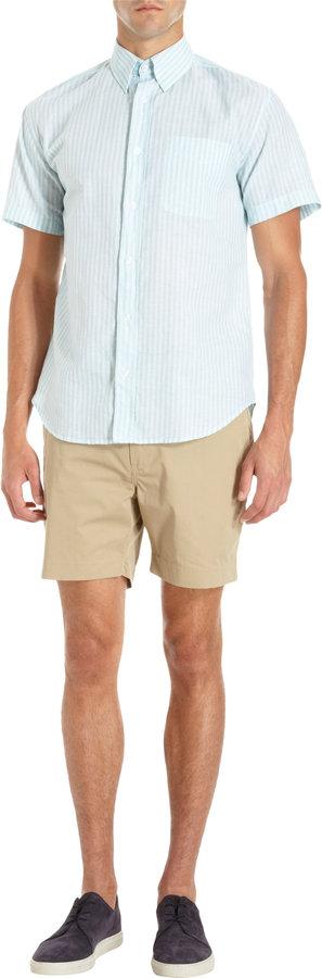 Barneys New York Striped Short Sleeve Shirt