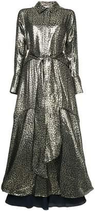 Layeur Berthe belted metallic dress