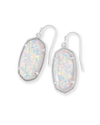 Kendra Scott Dani Silver Drop Earrings in White Kyocera Opal