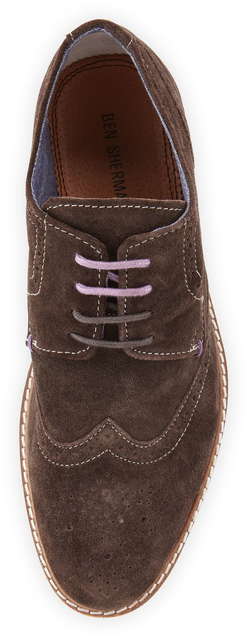Ben Sherman Suede Trend-Lace Oxford, Chocolate