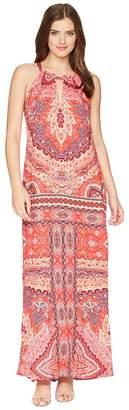 Hale Bob Modern Mosaic Stretch Satin Maxi Dress Women's Dress