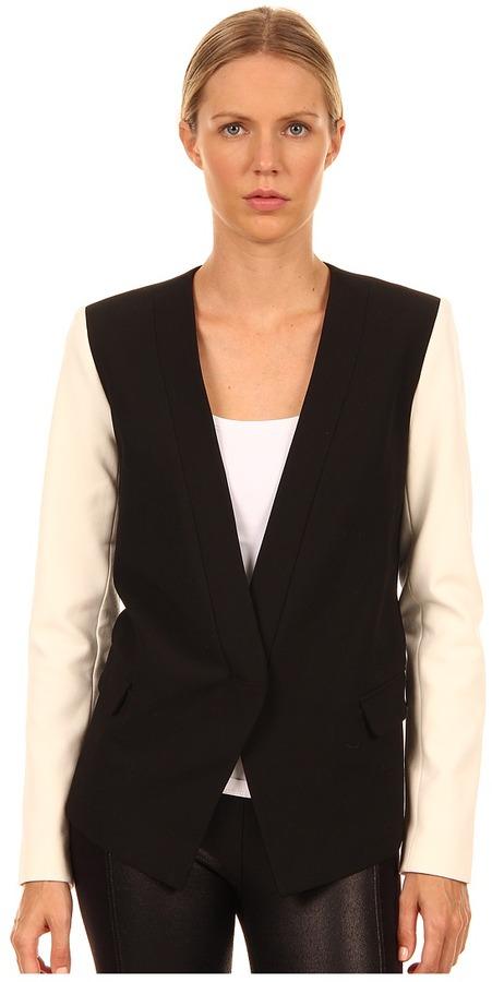 Tibi Anson Stretch Blazer (Black/Ivory Multi) - Apparel