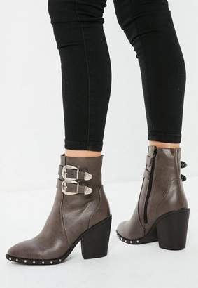 Missguided Brown Etched Buckle Western Ankle Boots