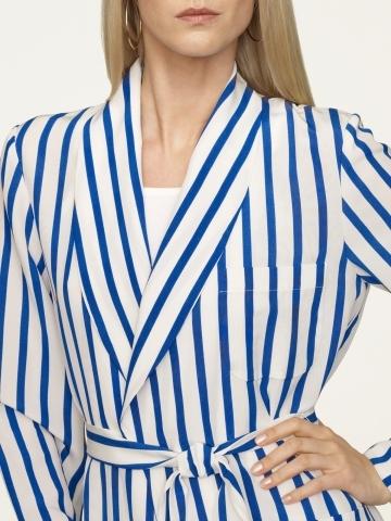 Ralph Lauren Black Label Striped Silk Lenorah Coat