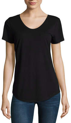A.N.A Scoop Neck Tee-Womens Scoop Neck Short Sleeve T-Shirt