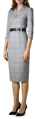 Karen Millen Puff-Sleeve Glen Plaid Sheath Dress
