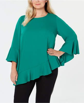 Alfani Plus Size Asymmetrical Bell-Sleeve Top, Created for Macy's