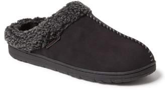 Dearfoams Men's Whipstitch Seam Microsuede Clog Wide-Width Slippers