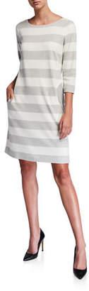 Joan Vass Striped Boat-Neck 3/4-Sleeve Dress with Pockets