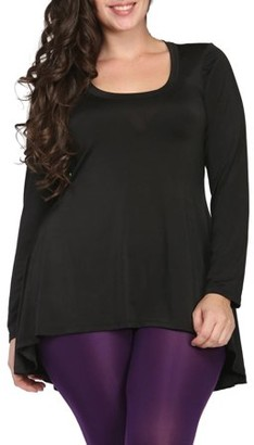 24/7 Comfort Apparel Plus Size Women's Long Sleeve High-Low Tunic Top