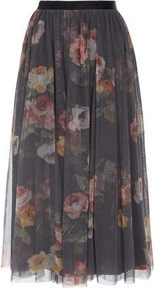 Needle & Thread Venetian Rose Floral-Print Tulle Skirt