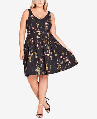 City Chic Trendy Plus Size Sweet Stems Printed Fit & Flare Dress