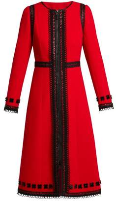 Andrew Gn Lace Trimmed Wool Crepe Coat - Womens - Red