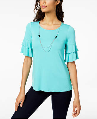 NY Collection Petite Ruffle-Sleeve Attached-Necklace Top