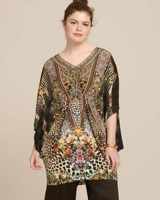 Camilla Bat Sleeve Tunic with Gathered Waist