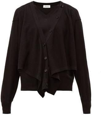Lemaire Button Front Merino Wool Blend Sweater - Womens - Black