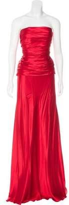 Alberta Ferretti Strapless Silk Gown