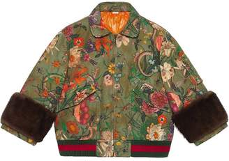 Gucci Flora Snake Vintage denim bomber jacket