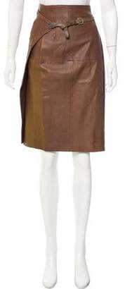 Pauw Leather Knee-Length Skirt