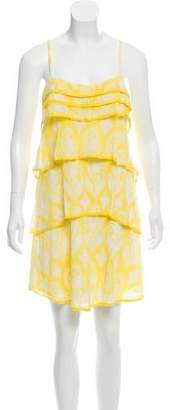 Diane von Furstenberg Ruffle-Accented Printed Mini Dress